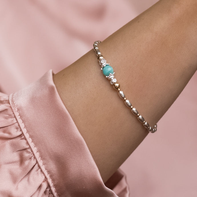 Elegant 925 sterling silver and 14k gold bracelet with 100% natural Amazonite gemstone