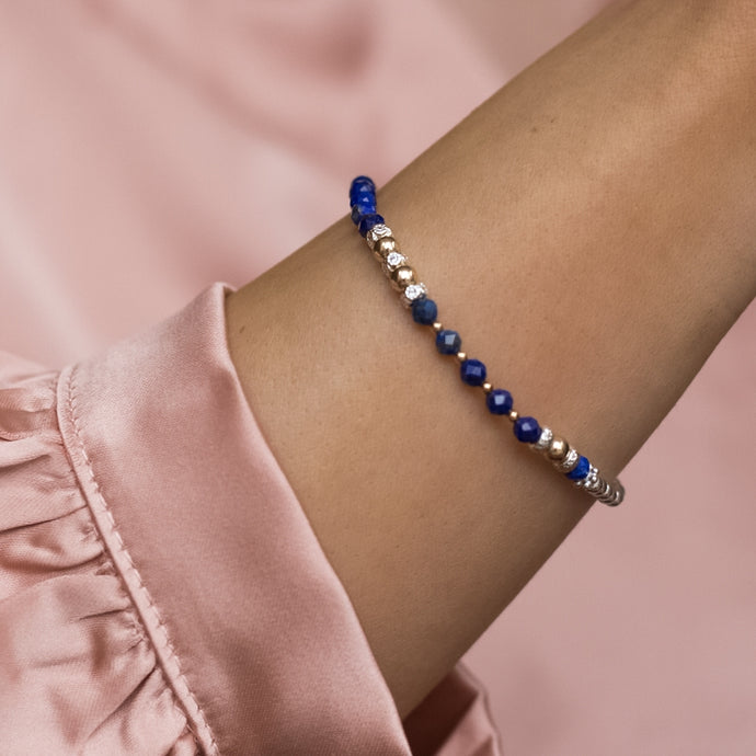 Elegant 925 sterling silver and 14k gold filled bracelet with 100% natural Lapis Lazuli gemstone