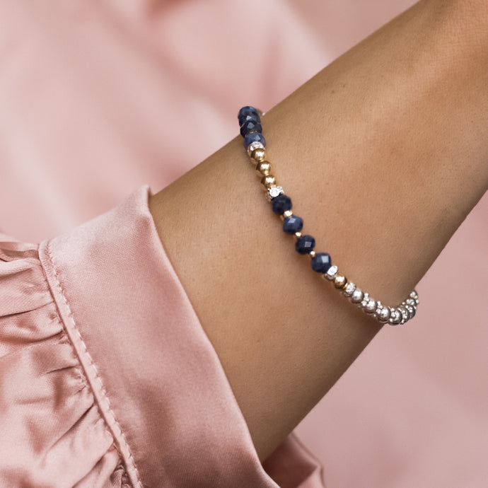 Luxury 925 sterling silver and 14k gold filled bracelet with 100% natural Sapphire gemstone