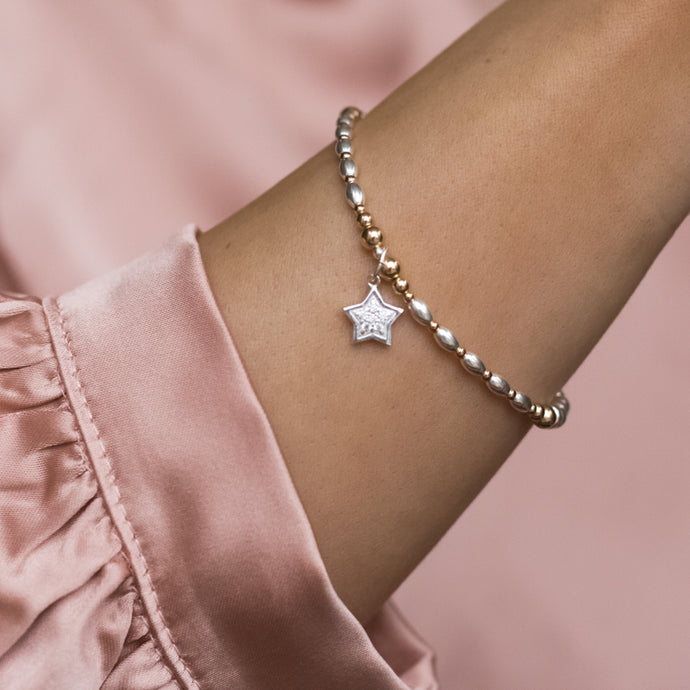 Dazzling Star 925 sterling silver and 14k gold filled staking bracelet with Cubic Zirconia stones