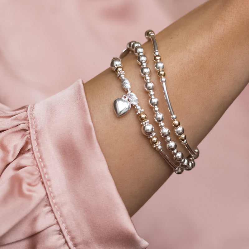 Infinite love 925 sterling silver and 14k gold filled bracelet stack with Heart charm