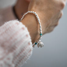 Load image into Gallery viewer, Oriental 925 sterling silver stretch stacking bracelet with Elephant charm and Turquoise gemstone