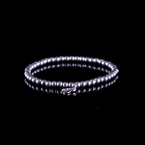 925 Sterling silver ball elastic/stretch stacking bracelet with silver heart charm