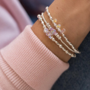 Exclusive 925 sterling silver bracelet stack full of colours, sparkle and elegance