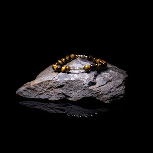 Mens sterling silver bead bracelet with 14k Gold FIlled beads and Tiger's eye gemstone