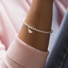 Load image into Gallery viewer, Lovely 925 Sterling silver ball elastic/stretch stacking bracelet with silver heart charm