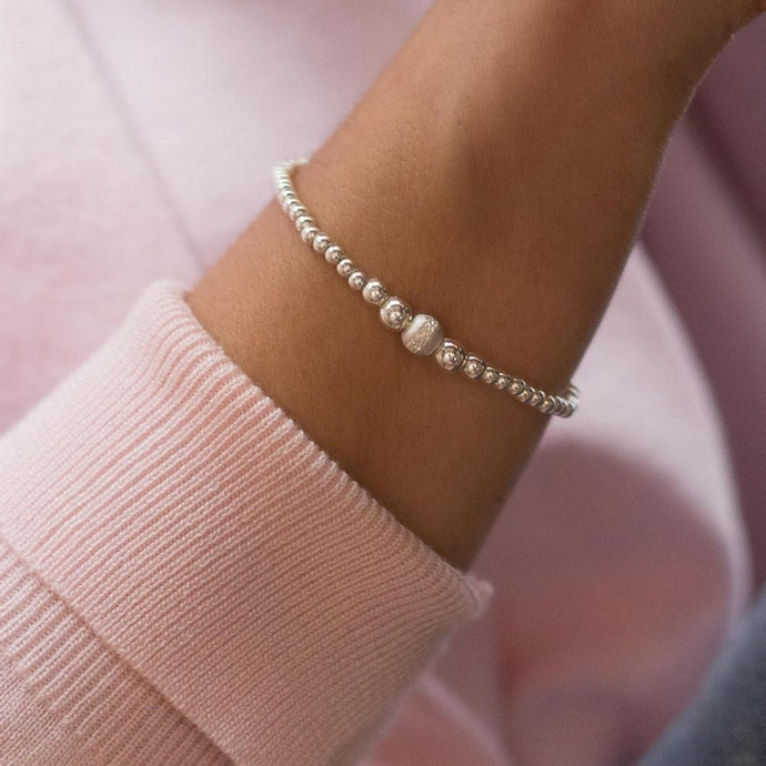 Romantic 925 sterling silver ball elastic/stretch bracelet with frosted sparkling silver bead