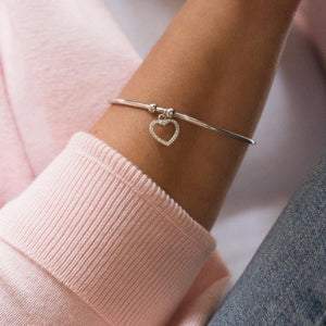 Romantic 925 Sterling silver cuff ball bracelet with heart charm decorated with Cubic Zirconia stones - Rhodium plated
