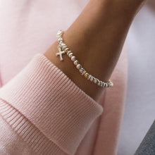 Load image into Gallery viewer, Fashionable sterling silver and 14k gold filled beads stretch bracelet with cross charm