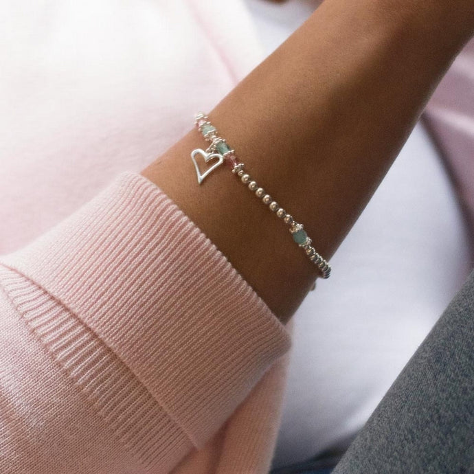 Romantic Heart 925 sterling silver stretch/elastic stacking bracelet with Aquamarine gemstone