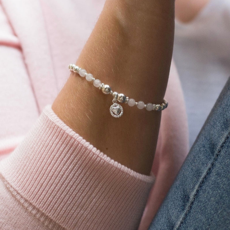 Romantic 925 sterling silver bracelet with Rose quartz gemstone and Heart charm