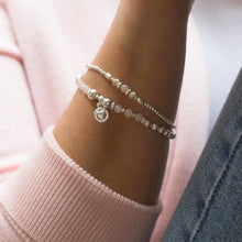 Load image into Gallery viewer, Romantic 925 sterling silver bracelet stack with Rose Quartz gemstone and Heart charm