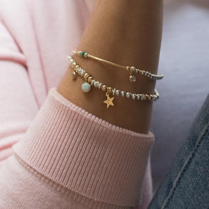 Luxury sterling silver bracelet stack with 14k gold filled Star, Opal gemstone and Cubic Zircona charm