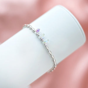 Exclusive 925 sterling silver stretch bracelet with Top quality glass rainbow drops and Cubic Zirconia stones