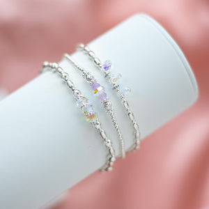 Exclusive 925 sterling silver stretch bracelet stack full of colours, sparkle and elegance