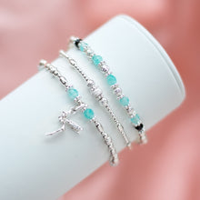 Load image into Gallery viewer, Magical Fairy charm 925 sterling silver elastic/stretch stack with Aquamarine gemstone