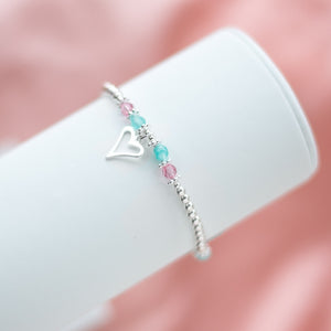 Romantic Heart 925 sterling silver stretch/elastic bracelet with Aquamarine gemstone