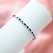 Load image into Gallery viewer, Luxury 925 sterling silver tennis bracelet decorated with Royal blue Cubic Zirconia stones