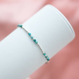 925 Sterling silver elastic ball bracelet with Turquoise gemstone beads