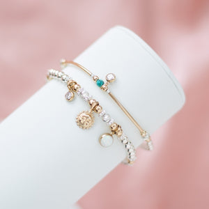 Luxury sterling silver bracelet stack with 14k gold filled Sun, Opal gemstone and Cubic zircona charm