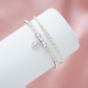 Romantic 925 sterling silver bracelet stack with Rose Quartz gemstone and Heart charm