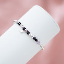 Load image into Gallery viewer, 925 sterling silver bracelet with North star charm, Onyx and Amethyst gemstone