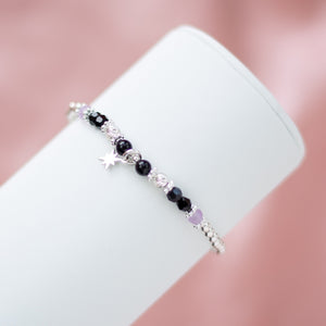 925 sterling silver bracelet with North star charm, Onyx and Amethyst gemstone