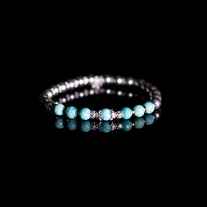 Gorgeous 925 sterling silver and 14K gold filled bracelet stack with Amazonite gemstone