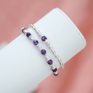 Luxury 925 sterling silver bracelet stack with 100% natural Bright Violet Amethyst gemstone