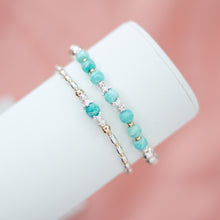Load image into Gallery viewer, Gorgeous 925 sterling silver and 14K gold filled bracelet stack with Amazonite gemstone