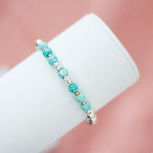 Gorgeous 925 sterling silver bracelet with 100% natural Amazonite gemstone beads and 14K gold filled beads
