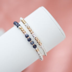 Luxury 925 sterling silver and 14k gold filled bracelet stack with 100% natural Saphire gemstone