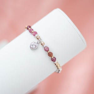 Luxury 925 sterling silver bracelet with AAA Pink Tourmaline gemstone