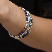 Load image into Gallery viewer, Luxury 925 sterling silver and 14k gold filled bracelet stack with 100% natural Sapphire gemstone