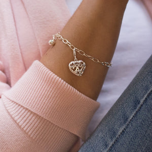 Elegant 925 sterling silver chain bracelet with Heart charm