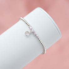 Load image into Gallery viewer, Elegantly romantic 925 sterling silver ball bracelet with Rose Quartz gemstone charm