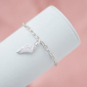 Elegant 925 sterling silver chain bracelet with Angel Wing charm
