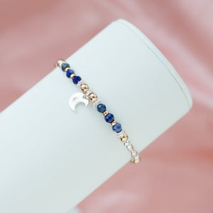 Magical Moon 925 sterling silver bracelet with Lapiz Lazuli and 14k gold filled beads