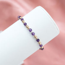 Load image into Gallery viewer, Elegant 14k gold filled bracelet with 100% natural Amethyst gemstone