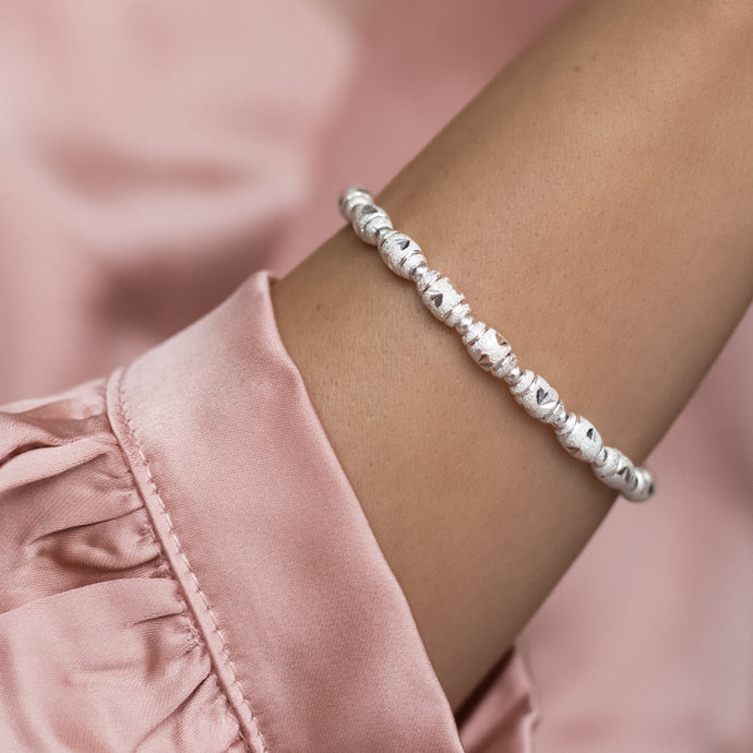 Luxury 925 sterling silver frosted stacking bracelet with dazzling multi cuts