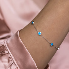 Load image into Gallery viewer, Elegant 925 sterling silver bracelet decorated with Sky blue Opal stones - Rhodium plated