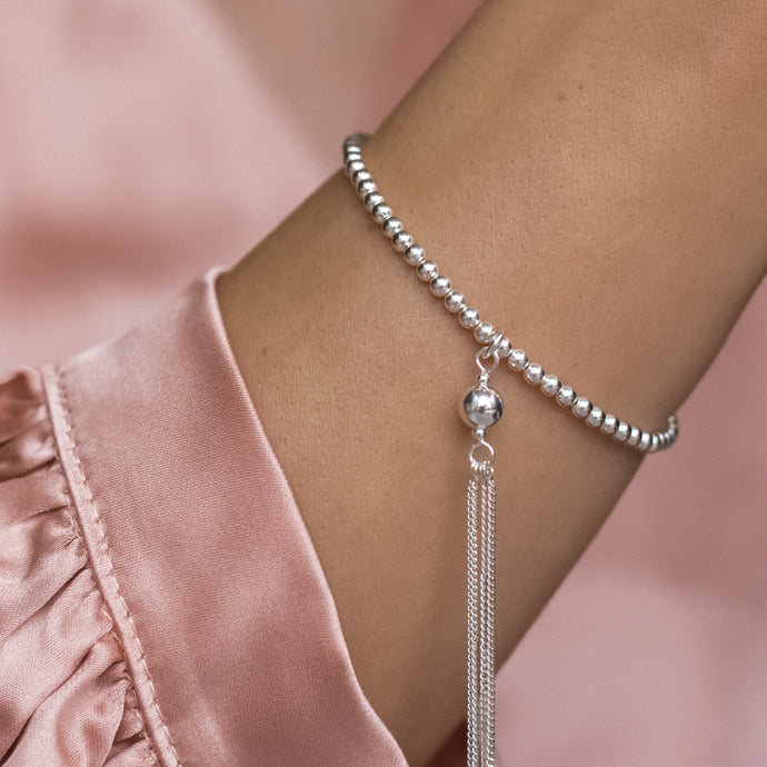 Romantic 925 sterling silver ball elastic/stretch tassel bracelet