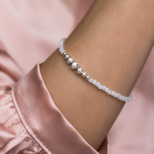 925 Sterling silver ball bracelet with Rainbow Moonstone gemstone