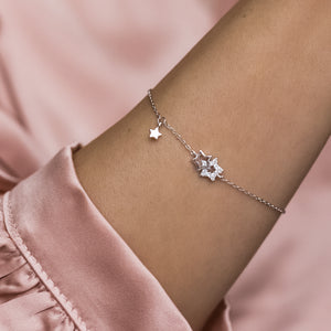 Minimalist star 925 sterling silver bracelet decorated with Cubic Zirconia stones - Rhodium plated
