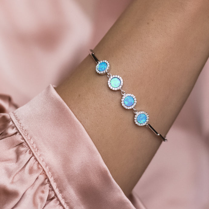 Luxury 925 sterling silver bracelet with sky blue Opal stones and Cubic Zirconia - Rhodium plated