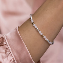 Load image into Gallery viewer, Elegantly romantic 925 sterling silver bracelet with Rose Quartz gemstone