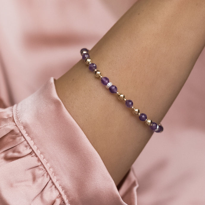 Elegant 14k gold filled bracelet with 100% natural Amethyst gemstone