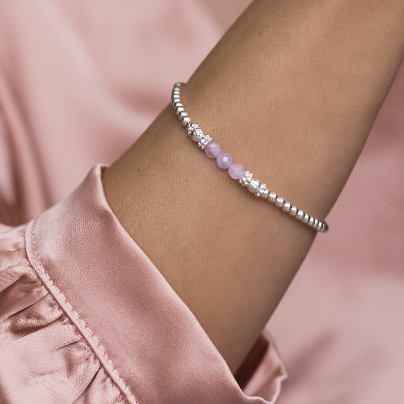 Elegantly feminine 925 sterling silver stacking bracelet with Amethyst gemstone