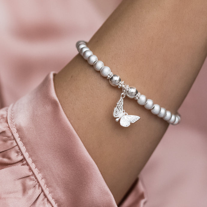 Romantic 925 sterling silver satin bracelet with Butterfly charm