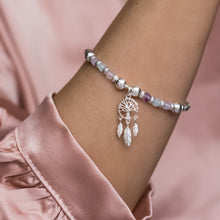 Load image into Gallery viewer, Romantic 925 silver bracelet with Dreamcatcher charm, Aquamarine and Amethyst gemstone